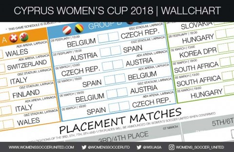 2018 Cyprus Women's Cup wallchart | Download, Print and Share your Cyprus Cup wall planner