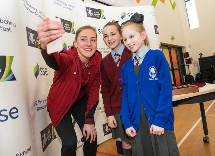 Liverpool and England goalkeeper Siobhan Chamberlain, was at the fifth-round draw at Park Brow Primary School in Kirkby, Liverpool