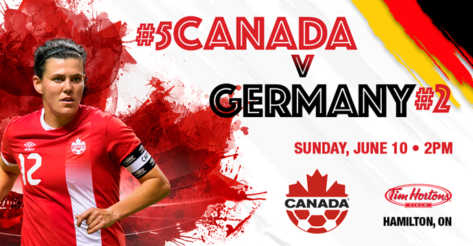 #5 Canada to play #2 Germany on 10 June in Hamilton