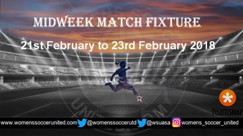 Women's Midweek Football Fixtures 21st February to 23rd February 2018