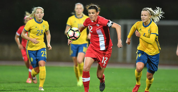 Canada Women's National Team fall 3:1 to Sweden in its opening match of the 2018 Algarve Cup