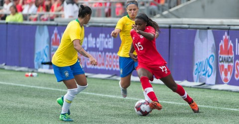 Canada defeat Brazil 1-0 in front of 16,128 fans at TD Place in Ottawa