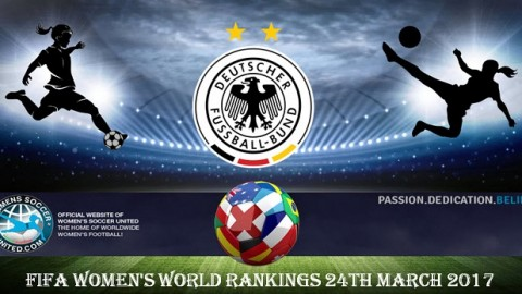 Germany Lead FIFA Women's World Rankings 24th March 2017