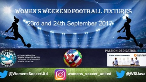 Women's Weekend Football Fixtures 23rd and 24th September 2017