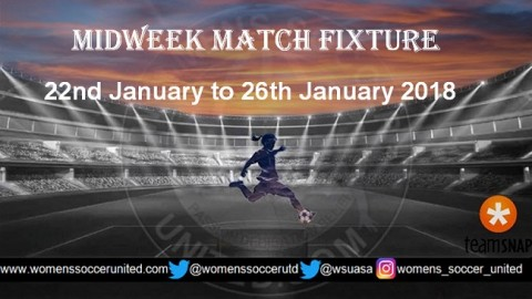 Women's Midweek Football Fixtures 22nd January to 26th January 2018