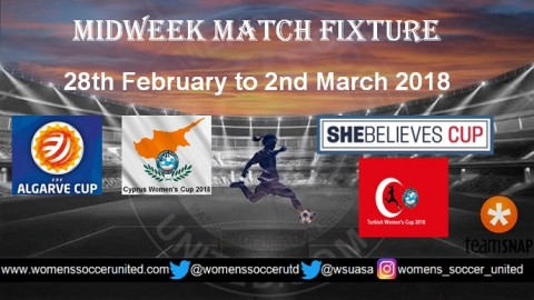 Women's Midweek Football Fixtures 28th February to 2nd March 2018