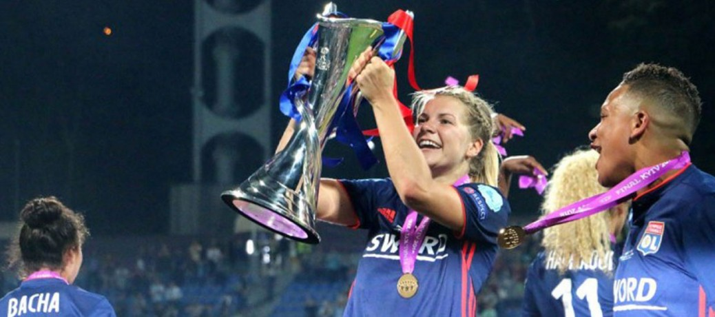 Lyon celebrate winning the UEFA Women's Champions League