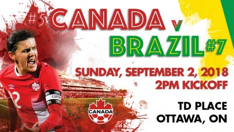Canada to play Brazil in an International Friendly on 2 September in Ottawa