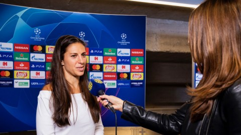 USA international Carli Lloyd visits FC Barcelona and Camp Nou