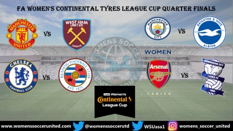 FA Women's Continental Tyres League Cup Quarter Final Fixtures