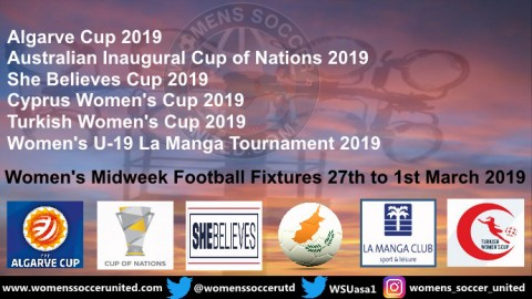 Women's Midweek Football Fixtures 27th to 1st March 2019