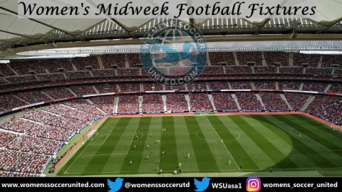 Women's Midweek Football Fixtures 8th to 12th April 2019