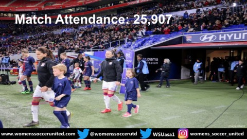 25,907 Fans watched Olympique Lyonnais beat PSG D1 Féminine 13th April
