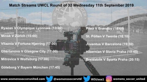 Match Streams UEFA Women's Champions League Round of 32 11th/12th September 2019