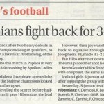 hibernians-womens-teams-historic-draw-on-local-newspaper